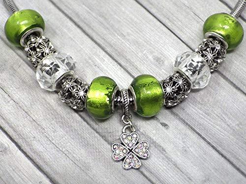 Collar charms verde para mujer en acero inoxidable con colgante de trébol con cristales