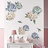 decalmile Pegatinas de Pared Flores Peonía Vinilos Decorativos Romántico Adhesivos Pared Habitación Niña Dormitorio Salón