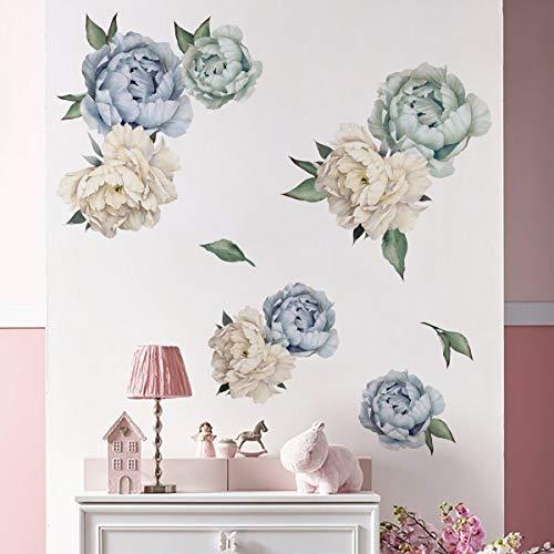 decalmile Adesivi Murali Fiore Peonia Adesivi da Parete Romantico Decorazione Murale Camera da Letto Soggiorno TV Parete Mobili