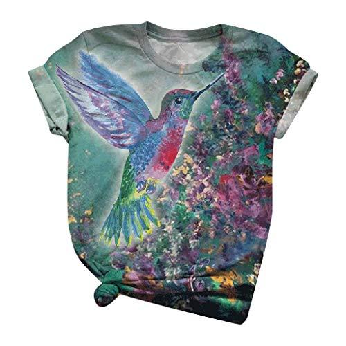 Ziyou Damen T-Shirts Sommer lose Kurzarm runden Ausschnitt Lustige 3D-Cartoon Bunte Kuh Katze Esel Tier Bedruckte Blusen Komfortable Grafik T-Shirts Tunika T-Shirt(L, G-Blau)