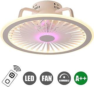 Ventilador Moderno Luz de Techo LED Ventilador Ajustable Ventilador de Techo con iluminación y Control Remoto Atenuación Luz de Techo para Ventilador de Techo del Dormitorio del salón blanco