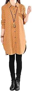 YiTongレディース 秋 長袖 綿 麻 シャツワンピース ショート丈 ゆったり カジュアル チュニック 水玉柄 ロングシャツ 可愛い おしゃれ