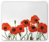 Ambesonne Poppy Mouse Pad, Efflorescing Meadow in The Backwoods Vibrant Blossoms Buds Bouquet, Standard Size Rectangle Non-Slip Rubber Mousepad, Vermilion Olive Green Black