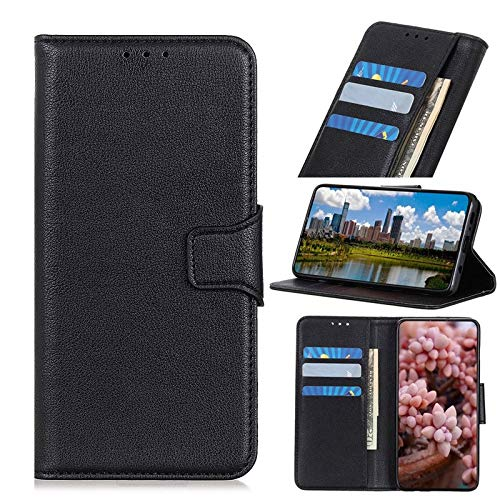 Anti-Fall Phone Case for VIVO IQOO Pro 5G Case, Lychee Texture Leather Wallet Case, Magnetic Closure Card Holder Case Protective Cover (Color : Black)