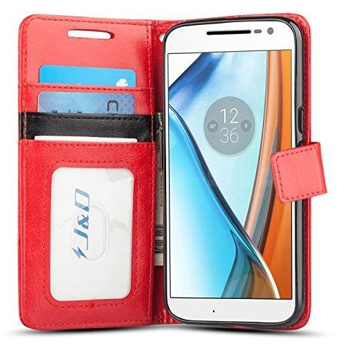 JD Compatible para Moto G4/G4 Plus Funda, [Protección de Cartera] [Soporte Plegable] Funda Pesada Resistentes Billetera para Motorola Moto G4 Funda Cuero, Moto G4 Plus Funda Cuero