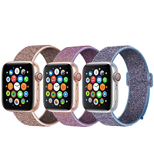 GZ GZHISY Newest Band Compatible with Apple Watch Band 42mm 44mm, Soft Breathable Strap Replacement Band, Compatible for iWatch Series 5/4/3/2/1, Pack 3 C 42mm 44mm
