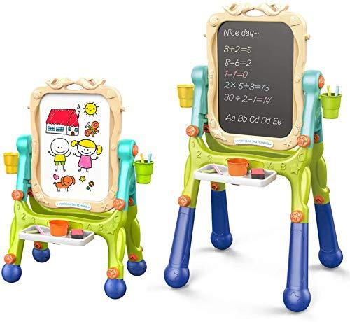 Arkmiido Cavalletto per Bambini Cavalletto Doppio Lato con Lavagna e Lavagna Magnetica a Secco per Disegno per Bambini, Altezza Regolabile con Rotazione a 360 ° (Verde)