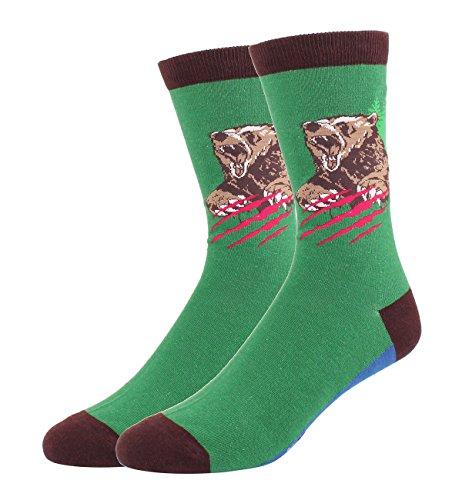 Happypop 4 Pack Men's Novelty Cool Socks, Funny Crazy Animals Art Fun Cotton Crew Socks Gift Box
