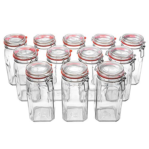 Flaschenbauer - 12 Drahtbügelgläser 1550ml verwendbar als Einmachglas, zu Aufbewahrung, Gläser zum Befüllen, Leere Gläser mit Drahtbügel