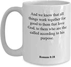 Romans 8 28 Coffee Mug/Cup - Inspirational Bible Verse/Psalm Gift: