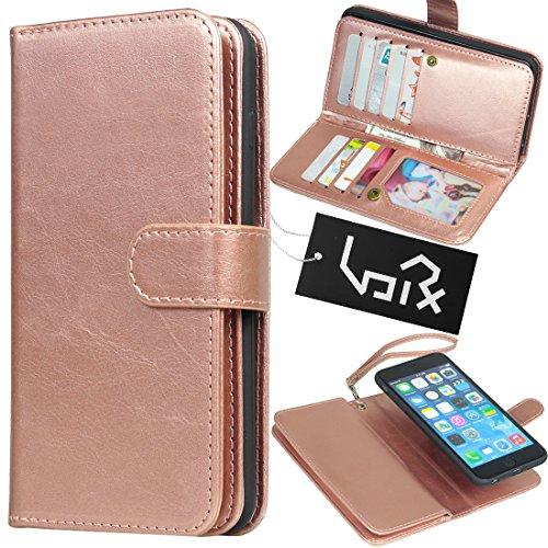 Urvoix for Apple iPhone 6 Plus / 6S Plus (5.5''), Wallet Leather Flip Card Holder Case, 2 in 1 Detachable Magnetic Back Cover iPhone6 Plus / iPhone6S Plus (NOT for iphone6) (Rose Gold)