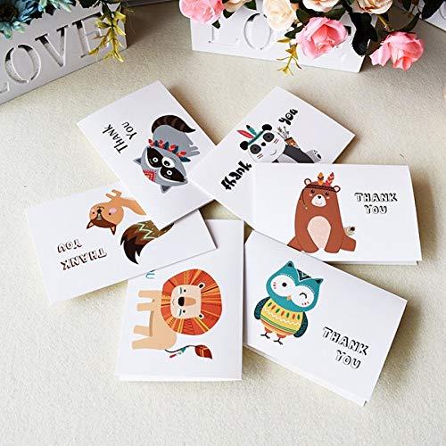 HUDETIE gewoonte Dank u kaarten-massaverjaardagskaart voor kinderen met enveloppen, uitnodiging, vrije ruimte binnen de kaarten 6 x 4 wenskaarten 6 Cards 6 Envelopes 4