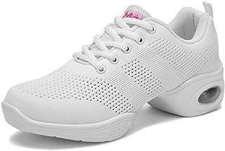 FREE FISHER Women's Mesh Ballroom Jazz Shoes Lady Girls Modern Split-Sole Dance Sneakers for Zumba Breathable Lightweight