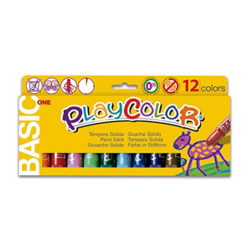 PLAYCOLOR  - Gouache Solide en stick - 12 couleurs - 10 g