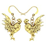 WEVENI Alloy Antique Gold Silver Plated Rooster Hen Chicken Earrings Dangle Drop Farm Jewelry Gift for Girls Women (Gold Rooster)