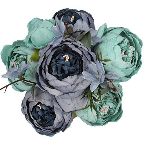 Luyue Vintage Pfingstrosen, künstlich, Seide, Blumen-Bouquet, Hochzeitsdekoration New Dark Blue