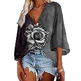 Bloudve Camisas de manga acampanada para mujer con estampado de flores de rosa, cuello en V, informal, sueltas, tallas grandes, gris, L