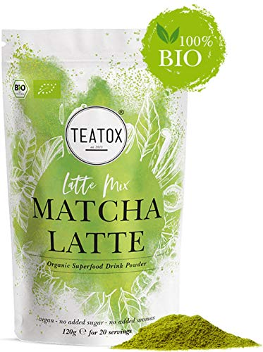 Teatox MATCHA Latte Mix | Bio & Vegan | mit Matcha und Süßholzwurzel | Premium Getränkepulver für Smoothies oder Latte | enthält grüner Tee (mit Koffein) | Superfood ohne Zuckerzusatz | Süßlich herb