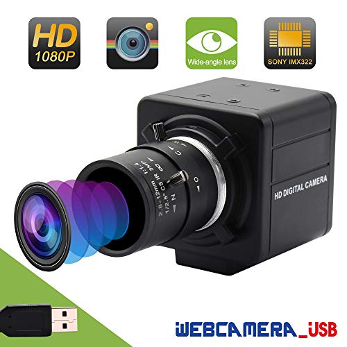 Varifocal Lens USB Webcam Mini Camera 2.8-12mm Webcamera usb Sony IMX322 USB with Camera,2 MP Full HD 1080P USB Webcam Support 1920X1080@30fps,High Speed USB2.0 Camera Support Most OS/UVC/H.264/Micro