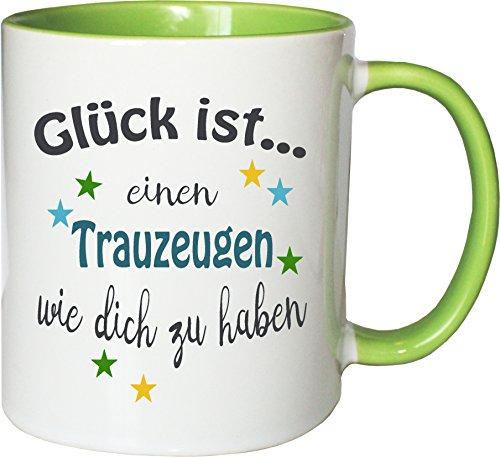 WarmherzIch Becher Tasse Glück ist… Trauzeuge Kaffee Kaffeetasse liebevoll Bedruckt Freund Hochzeit Bro Weiß-Grün