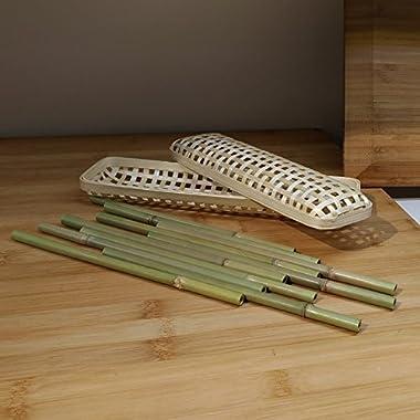 Ann Lee Design Natural Bamboo Straw Gift Set, 10 pcs