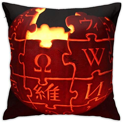 sherry-shop Wikipedia Logo Jack O 'Lantern Pillow Cover Diagram Pillowcase Square Throw Case Cojín 20X20In