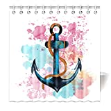 Violetpos Top Qualität Anti-Schimmel Duschvorhang Digitaldruck für Badezimmer Badvorhänge Aquarell Anker Hanfseil Rosa Blau 160 x 180 cm