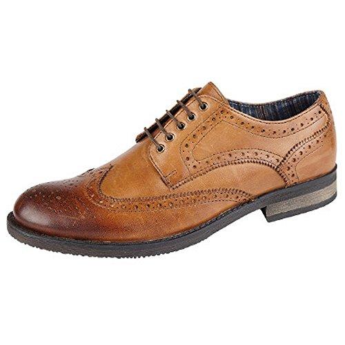 Roamers Bobe gebürstet 5Öse Wing Kappe Budapester Gibson Leder Lace Up Schuhe, braun - braun (tan) - Größe: 43 EU Herren