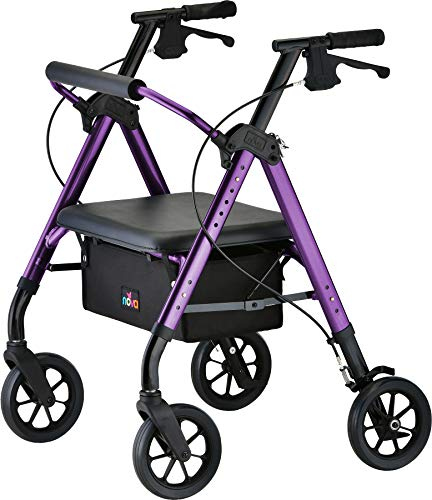 """NOVA Star Heavy Duty Bariatric Rollator Walker with Extra Wide Padded Seat, 8"""" Wheels, Fold Lock Feature, Rolling Walker with Adjustable Seat Height & 450 lbs. Weight Capacity, Standard Size, Purple"""