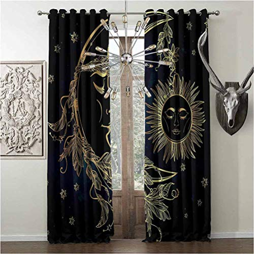 Tapesly Shading Insulated Curtains, Psychedelic Heat-Insulation, for Backdrop Curtain, W96 x L96 Inch, Golden Petrol Blue, Crescent Moon with Boho Feathers Alchemy Magic Egyptian Myth Design,