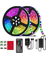 LED Strip Light, 32.8ft RGB LED Light Strip SMD 5050 LED Lights,300 LEDS Color Changing LED Lights with 44 Keys IR Remote Lights for Home Decoration,12V Power Supply LED Light with Music Sync