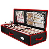 Premium Christmas Wrapping Paper Storage Bag with Interior Pockets - Fits 24 Rolls, Christmas Decoration Storage Box, 600D Tear-Proof Xmas Gift Wrap Organiser for Bows, Tags & Ribbons- 5 Year Warranty