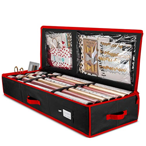 """ZOBER Premium Wrap Organizer, Interior Pockets, fits 18-24 Standers Rolls, Underbed Storage, Wrapping Paper Storage Box and Holiday Accessories, 40"""" Long - Tear-Proof Fabric - 5-Year Warranty"""
