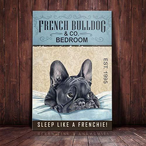 BabyElephant French Bulldog Bedroom Company Poster Wall Art Dog Poster for Bathroom Home Living Decor Poster