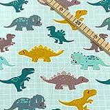 0,5m Jersey Dinos auf Raster Petrol-senf Dinosaurier 95%
