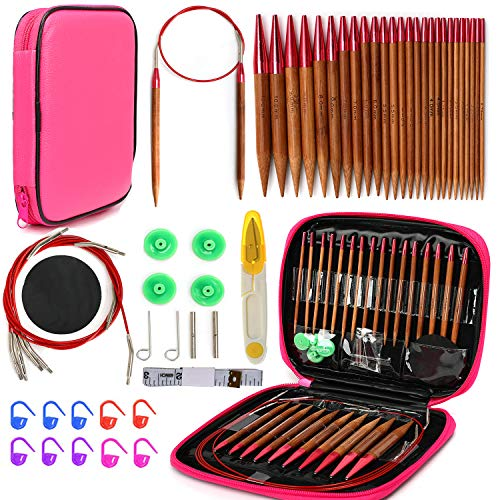 KOKNIT Circular Knitting Needles Set with Ergonomic Handles,Interchangeable Circular Knitting Needle,Crochet Needles Weave Yarn with Storge Case for Any Project (Red)