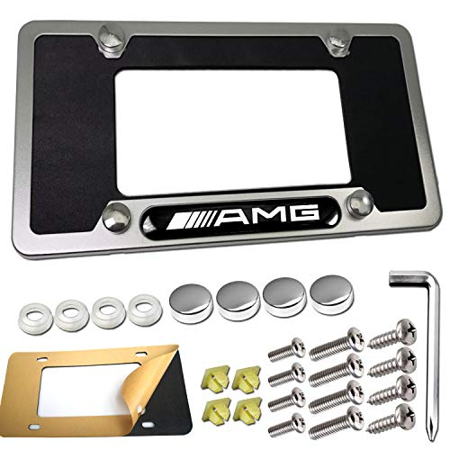 License Plate Frame for Mercedes Benz- 1 Pack /// AMG Logo Silver Aluminum Car 4 Holes License Plate Frame Tag Holder with Stainless Steel Screws, Chrome Caps, Compatible Benz Accessories