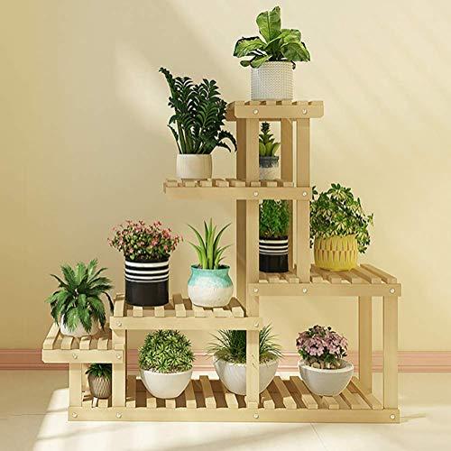 DIELUNY Massivholz Pflanzenständer mit Universalrad 6-stufige Leiter Blumenpflanzenregal Für Badezimmer Küche Schlafzimmer Flur Garten Balkon-Baumstamm 37x10x40 (95x25x102cm)
