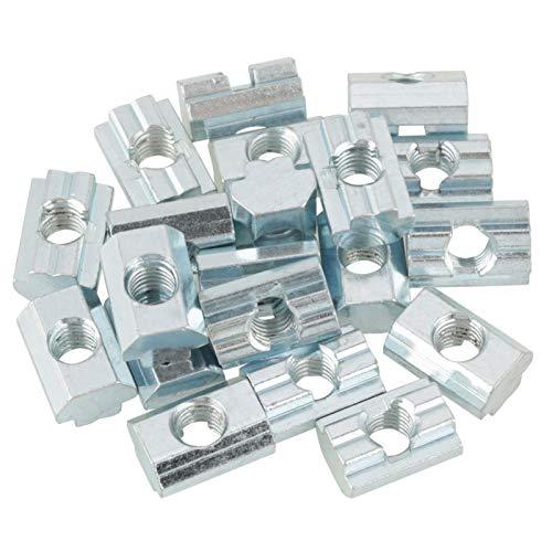Tuerca de ranura en T deslizante de acero al carbono chapado en zinc de 20 piezas para piezas de perfil de aluminio(国标滑块螺母40型M8)