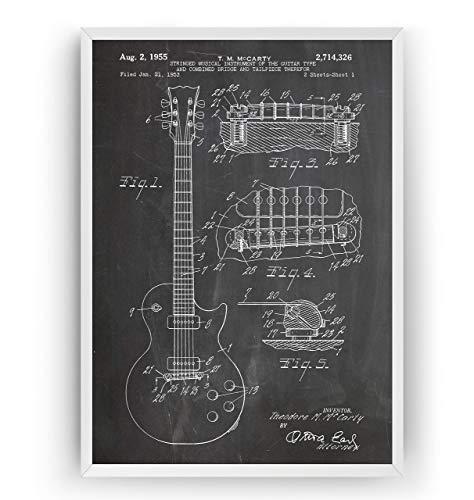 Elektrische Gitarre Patent Poster - Les Paul 1955 - Electric Guitar Jahrgang Drucke Drucken Bild Kunst Geschenke Zum Männer Frau Entwurf Dekor Art Gifts Decor - Rahmen Nicht Enthalten