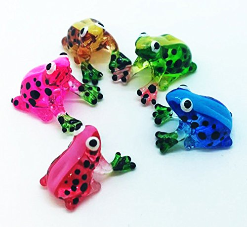 WitnyStore Glass Frog Figurine - Collectible Animal Art - 5 Piece Colored Hand Blown and Painted Glass Miniature Table Decor Collector s Item Perfect for Gifts and Souvenirs