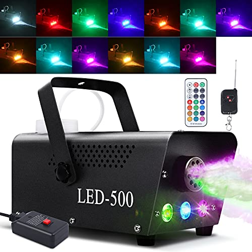 Fog Machine, Smoke Machine 13 Colorful LED Lights Effect, 500W and 2000CFM Fog with 1 Wired Receiver and 2 Wireless…