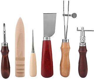 Outils d'Artisanat en Cuir, 6pcs Outils de Cuir de Création Couteau de Coupe Cuir DIY Maroquinerie Outil Kit Set