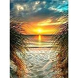 5D diamante pintura paisaje puesta de sol paisaje marino bordado circular Kit de punto de cruz pintura mosaico DIY diamante pintura A1 40x50cm