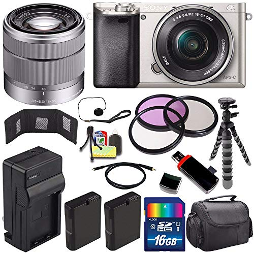 Sony Alpha a6000 Mirrorless Digital Camera with 16-50mm Lens (Silver) + Sony SEL 1855 18-55mm Zoom Lens + 16GB Bundle 13 - International Version (No Warranty)