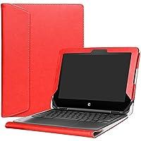 """Alapmk Diseñado Especialmente La Funda Protectora de Cuero de PU para 11.6"""" HP Chromebook x360 11 G1 EE & Chromebook 11 X360 11-aeXXX / aa0XX / ab0XX Series Ordenador portátil,Rojo"""