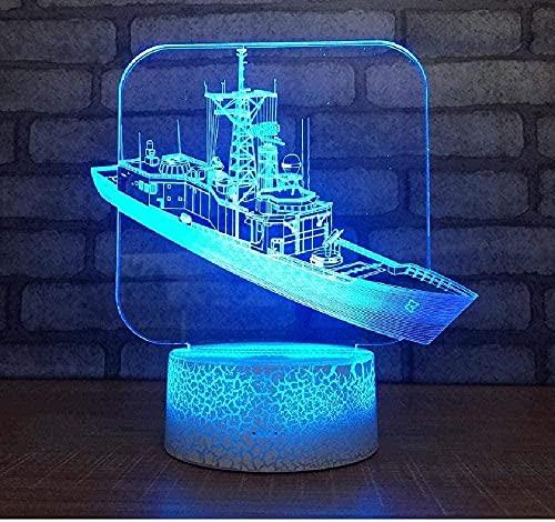 Luz de noche de ilusión 3D Luz de humor para niños Control remoto de 7 colores y botón táctil Regalo de vacaciones Barco de luz