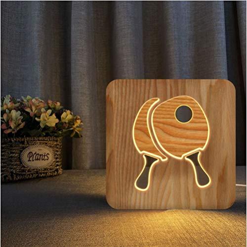 La decoración de la lámpara de dibujos animados 3D Vision de madera USB luz nocturna paleta de ping pong Habitación regalos de cumpleaños Sala Mesilla de noche de Navidad juguetes for los niños