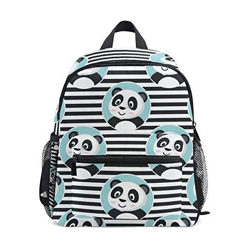 Sac à Dos pour Enfants Panda Mignon dans Le Cercle Bleu sur Le Sac préscolaire Maternelle à Rayures pour garçons Filles