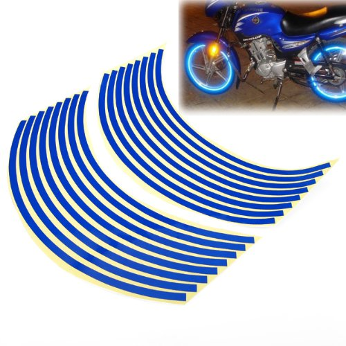 TOMALL 17 Reflective Wheel Rim Stripe Decal for Motorcycle Wheels Car Cycling Bike Bicycle Night Reflective Safety Decoration Stripe Universal Rim Reflective Stickers Blue
